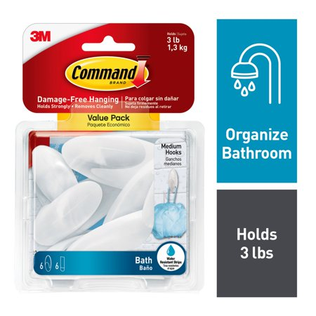 Command Bath Hooks, Value Pack, Frosted, Medium, 6 Hooks, 6 Medium Water-Resistant Strips/Pack