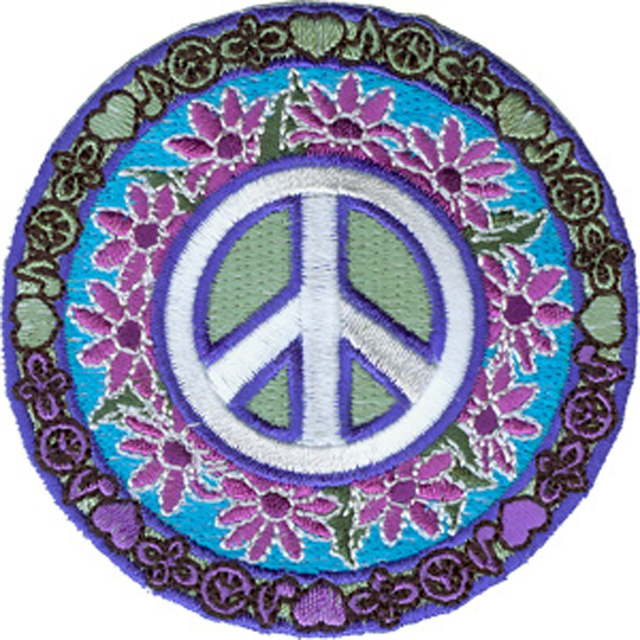 LOVE MUSIC PEACE, Officially Licensed Original Artwork, High Quality Iron-On / Sew-On, 3' x 3' Embroidered Patch