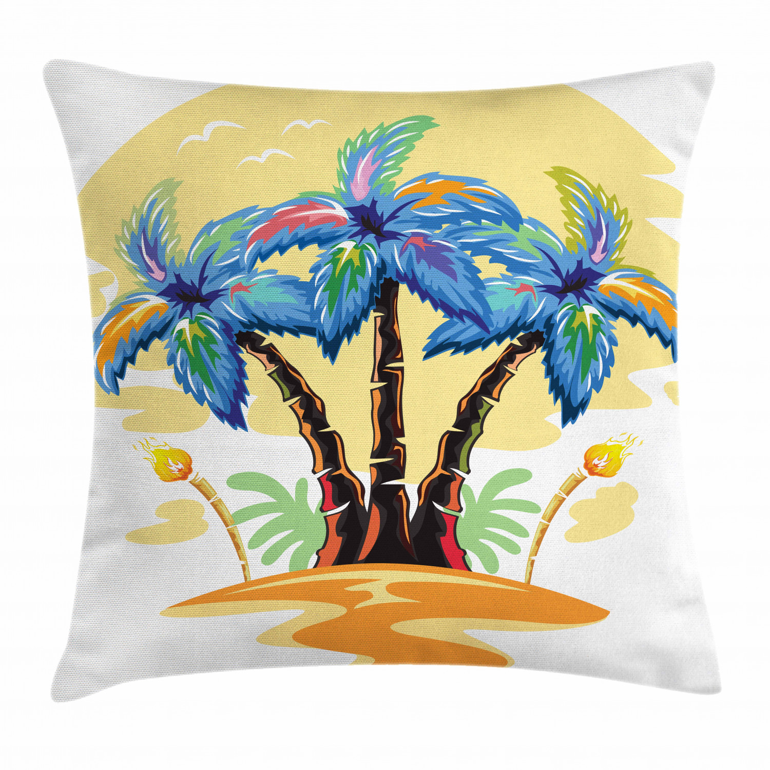 Palm Tree Decor Throw Pillow Cushion Cover, Cartoon Tropical Island with  Hawaiian Palm Trees Torch Seagulls at Sunset, Decorative Square Accent  Pillow ...