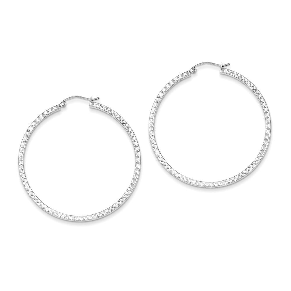 Sterling Silver Rhodium Plated D/C 3 x 45mm Hoop Earrings (1.8IN Long)