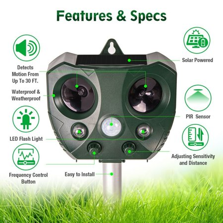 Solar Ultrasonic Animal Repeller, KCASA Solar Battery Powered Ultrasonic Animal Pest Repeller Bird Dog Insect Control Rodent Repellent with Motion Sensor for Garden Patio - image 8 of 10