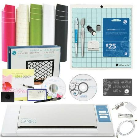cameo silhouette cutting machine 4 tools 25 card vinyl kit guide bundle. Black Bedroom Furniture Sets. Home Design Ideas