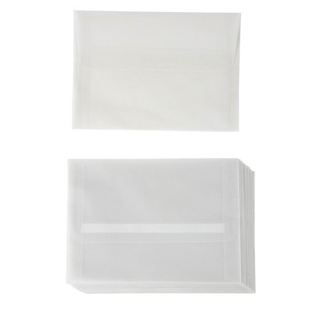 A7 Size Invitation Envelopes - 25-Pack 5.25 x 7.25 Inches Self Seal Vellum Paper Envelopes for Greeting Cards, Invitations, Announcements, and Photos - Value Pack Square Flap Envelopes, Translucent Invitation Envelope Size