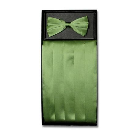 SILK Cumberbund & BowTie Solid OLIVE GREEN Color Men's Cummerbund Bow Tie Set Solid Olive Green