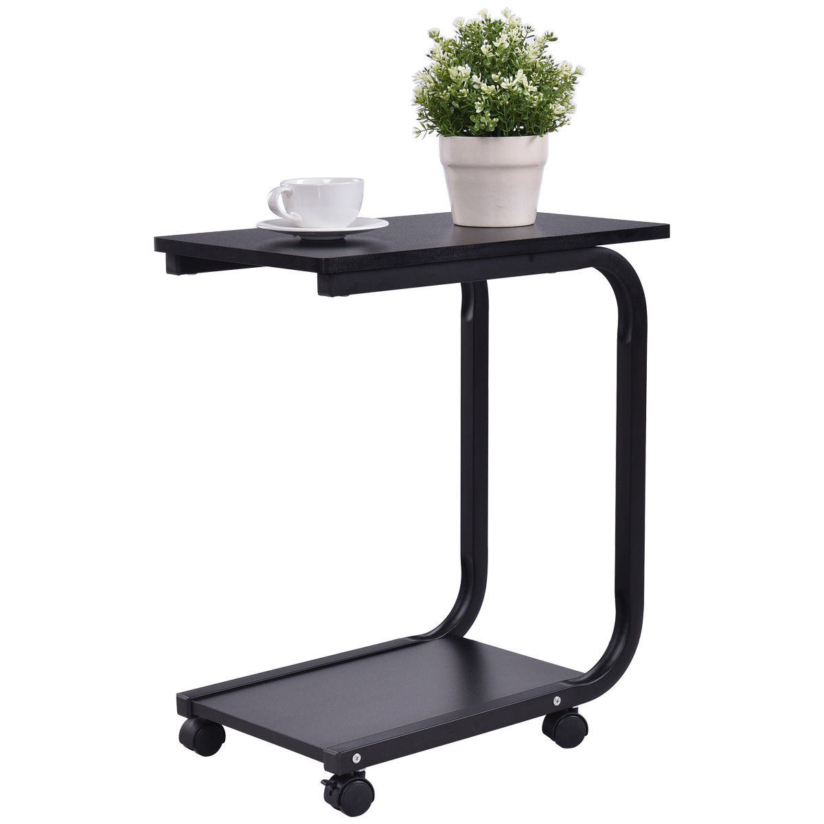 Superbe Gymax 2 Tier Coffee Sofa Side End Table TV Snack Stand Rolling Over Bed  Laptop PC
