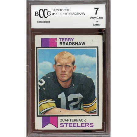1973 Topps  15 Terry Bradshaw Pittsburgh Steelers Bgs Bccg 7
