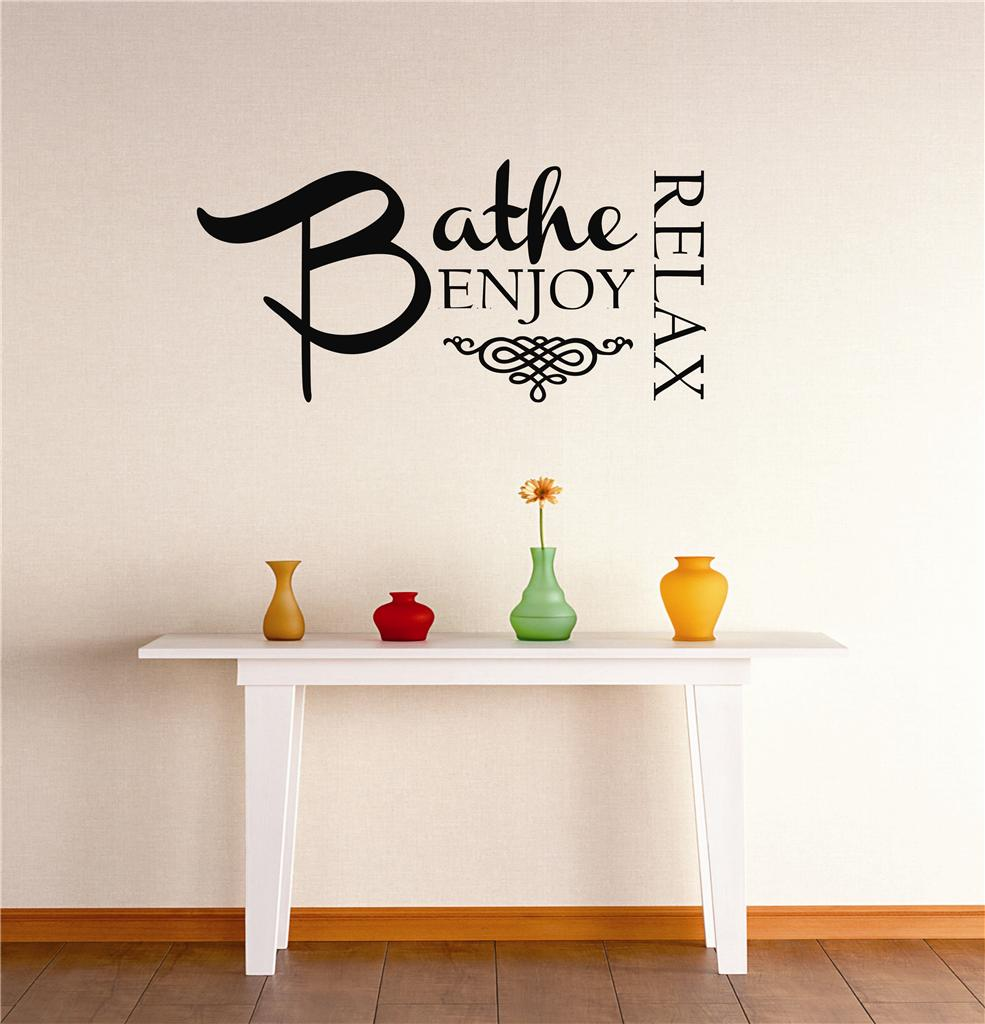 Do It Yourself Wall Decal Sticker Bathe Enjoy Relax Bathroom Tub Sign Quote Home Decor Mural 20x30""