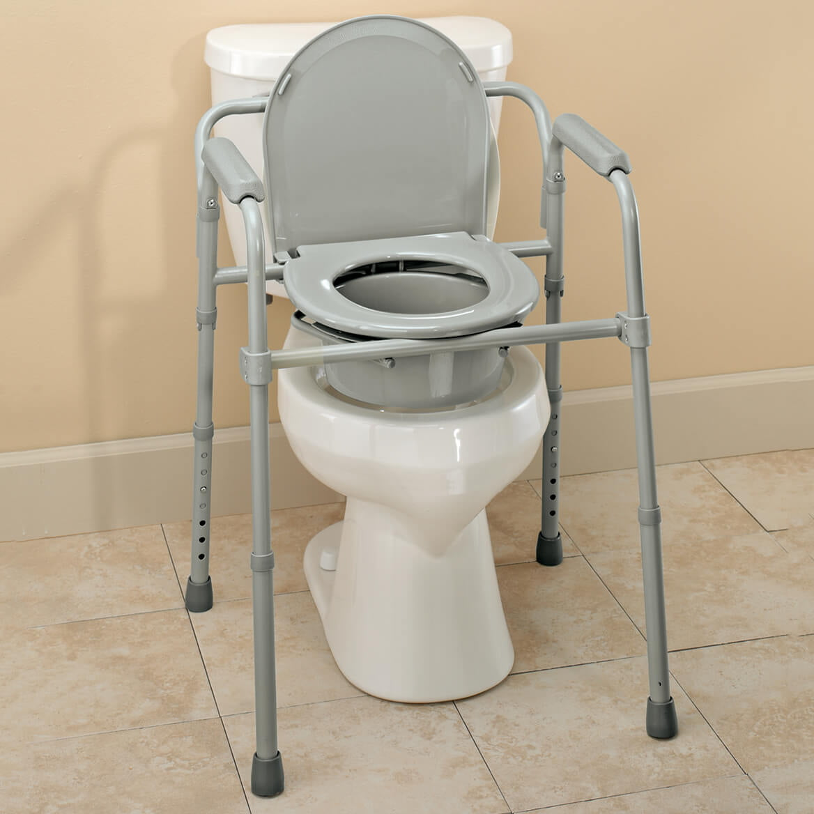 Folding Commode Portable Toilet And Bedside Commode Chair Includes Splash Guard Bucket Lid Cover Walmart Com Walmart Com