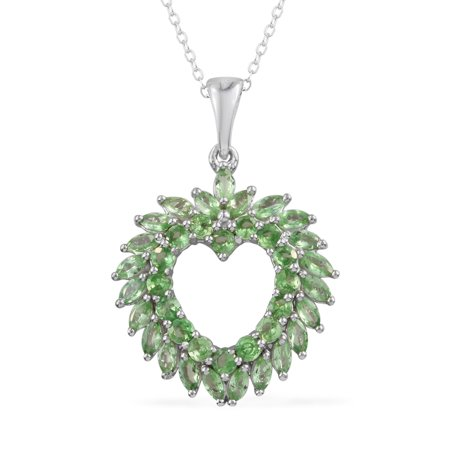 925 Sterling Silver Platinum Plated Round Mint Garnet Heart Chain Pendant Necklace 20