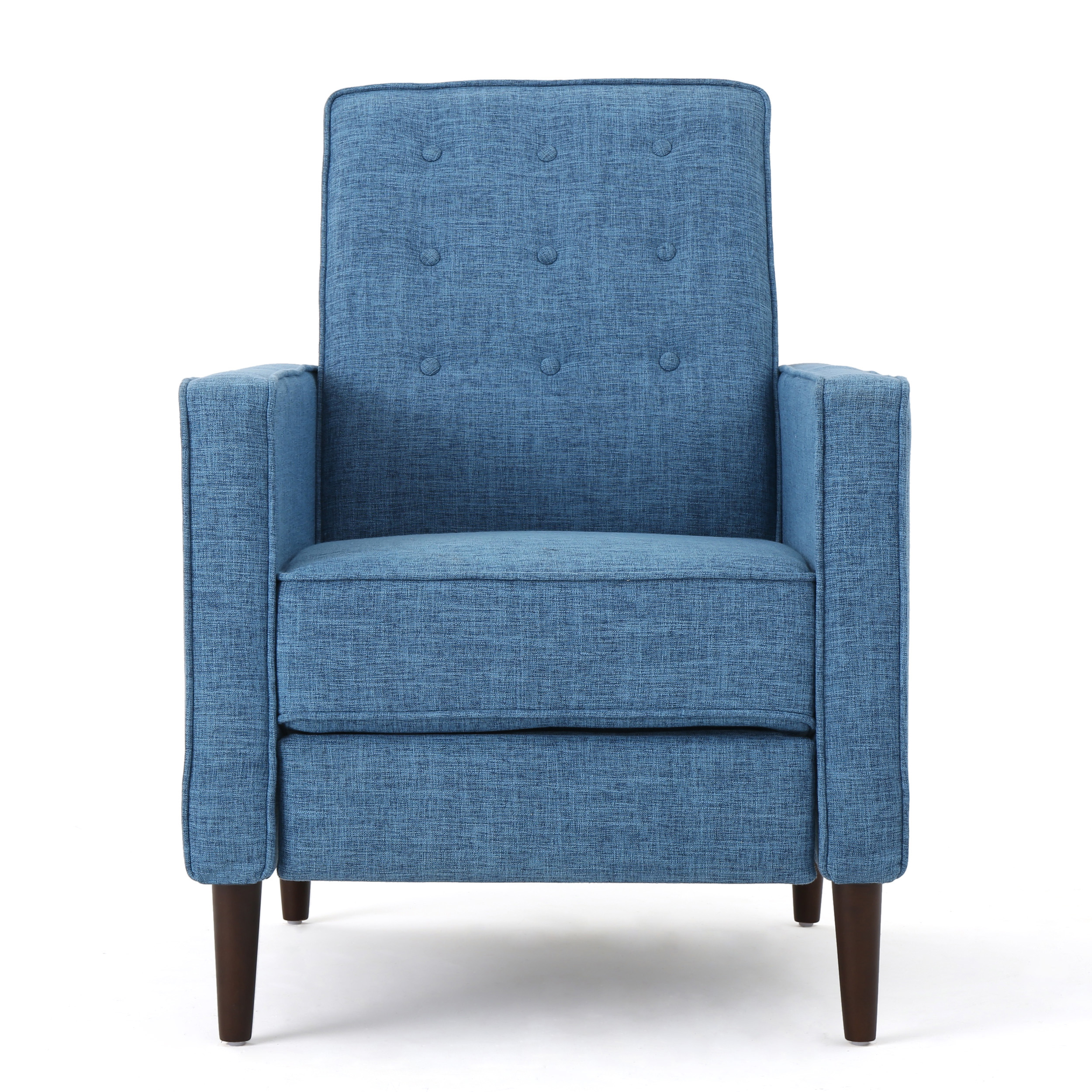 Macedonia Mid Century Modern Fabric Recliner, Muted Blue