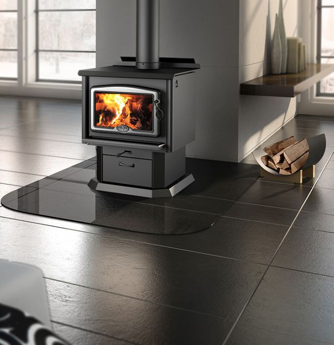 Osburn 1600 Wood Stove w/ Brushed Nickel Door Overlay and Pedestal Kit