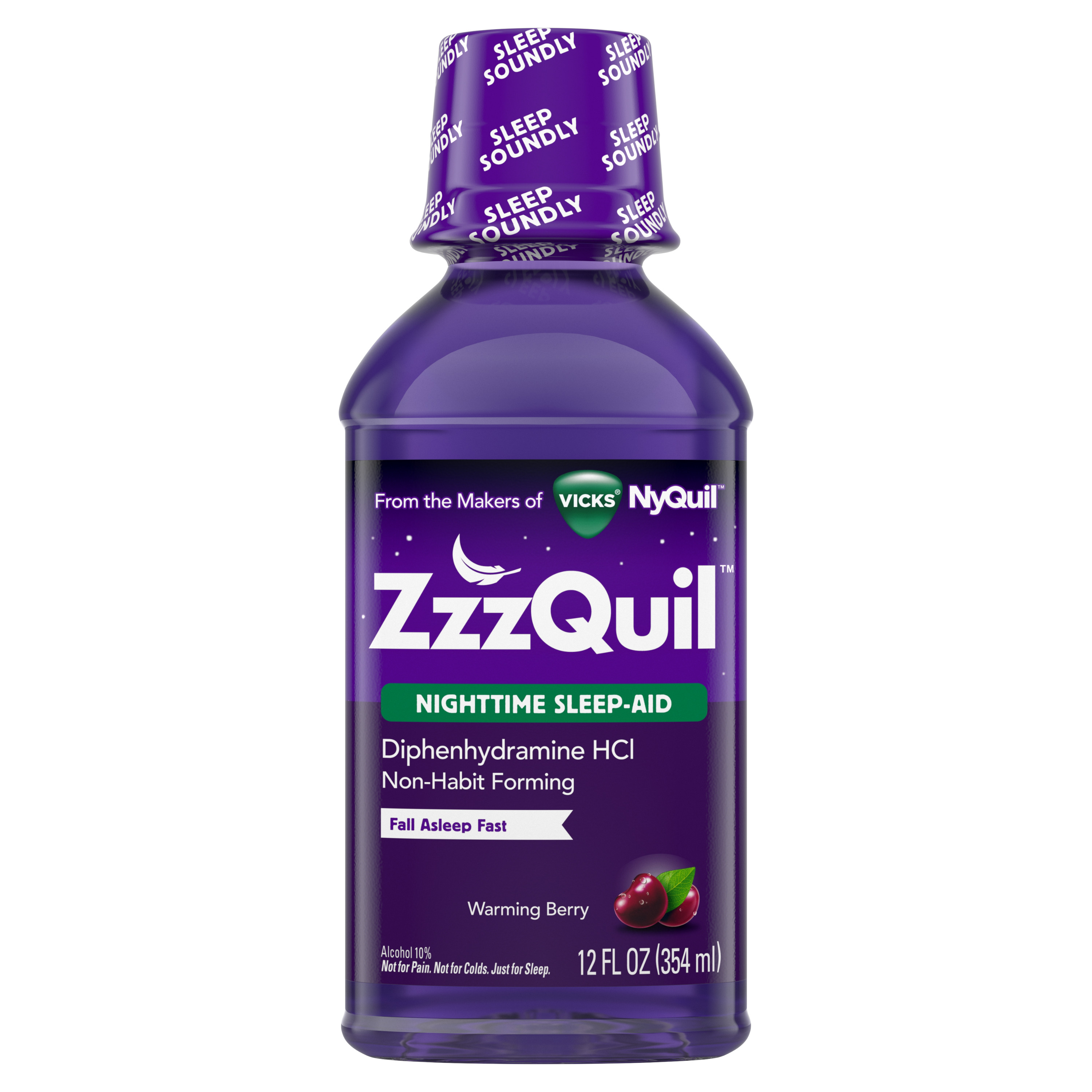 Vicks ZzzQuil Nighttime Sleep Aid, Warming Berry Liquid, 12 fl oz