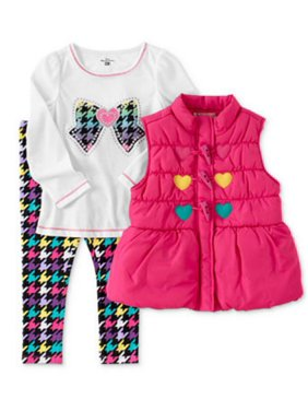 Kids Headquarters Toddler Girls 3 Piece Set Colorful Leggings Pink Heart Vest