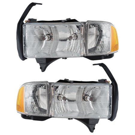 Pair Left Right Headlight Embly For Dodge Ram 1500 2500 3500 1999 2002