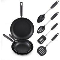 McSunley 3-Piece Non-Stick Fry Pan Set with 4 Soft Grip Tools