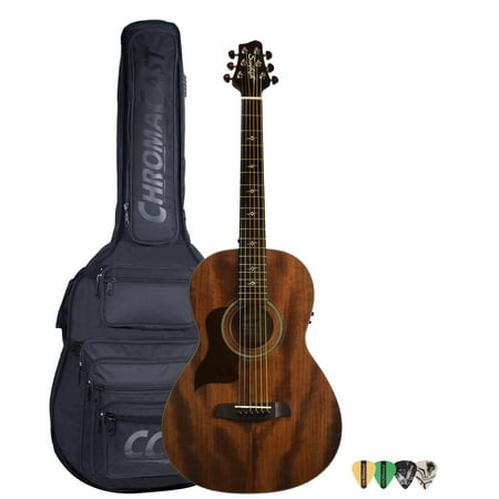 Sawtooth Mahogany Series Left-Handed Solid Mahogany Top Acoustic-Electric Parlor Guitar with Padded Gig Bag & Pick