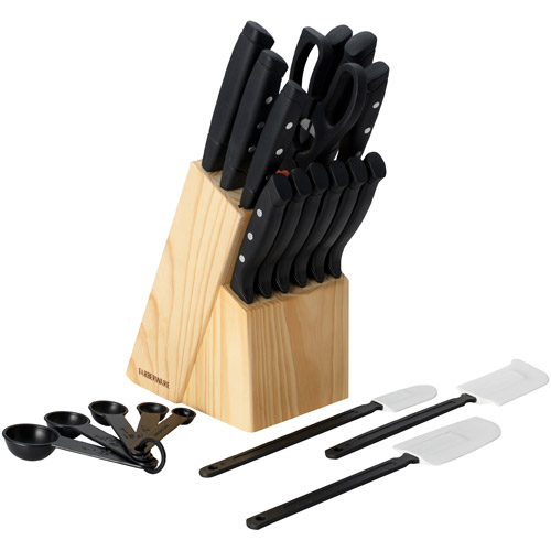 Farberware 22-Piece Wave Edge Cutlery Set with Block
