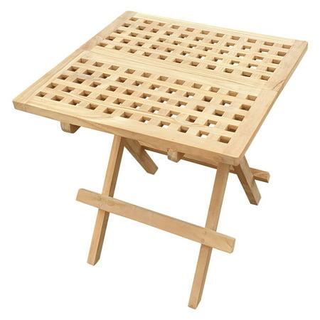 Seven Seas Teak Square Folding Patio Side Table ()