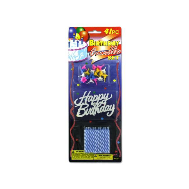 Bulk Buys PA007 72 Birthday Candle Set With Plastic Happy Topper