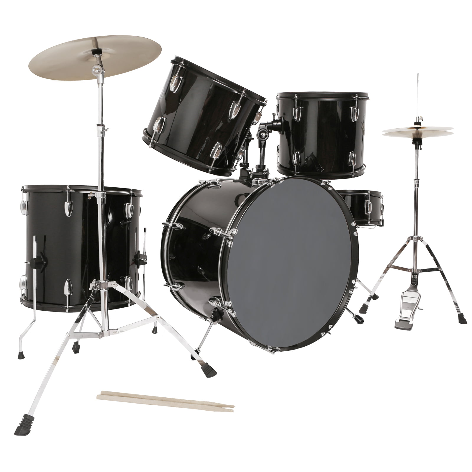 5 Piece Complete Adult Drum Set Cymbals Full Size Kit w  Stool & Sticks Black by Uenjoy