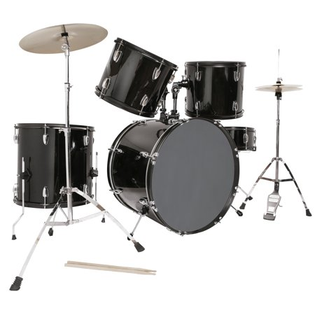 5 Piece Complete Adult Drum Set Cymbals Full Size Kit w/ Stool & Sticks Black Five Piece Drum Kit