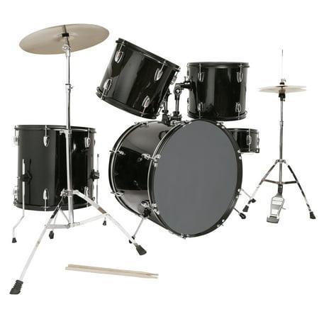 5 piece complete adult drum set cymbals full size kit w stool sticks black. Black Bedroom Furniture Sets. Home Design Ideas