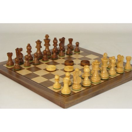 Worldwise Chess & Checker Set With Walnut / Maple Veneer Board