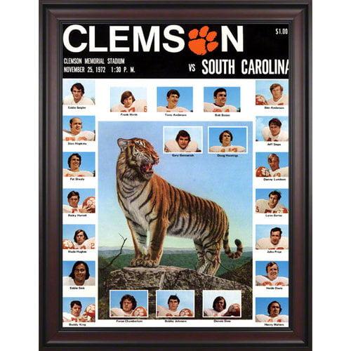 NCAA - 1972 Clemson Tigers vs. South Carolina Gamecocks 36 x 48 Framed Canvas Historic Football Print
