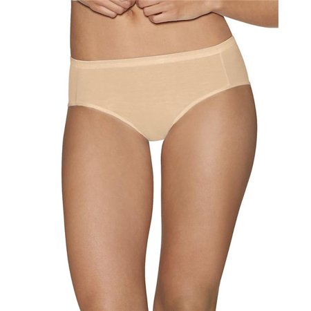 90563900879 Ultimate Comfort Cotton Womens Hipster Panties, Nude Dot Plus White - Size 5 - Pack of 5 - Plus Size Nude Women