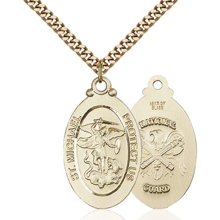 Gold Filled St. Michael / Nat'l Guard Pendant 1 1/8 x 5/8 inches with Heavy Curb Chain