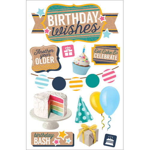 "Paper House 3D Stickers, 4.5"" x 8.5"", Birthday Wishes"