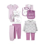 Child of Mine by Carter's Baby Girls Short Sleeve Bodysuits, Pants, Bibs, and Cardigan Set, 11 pc set