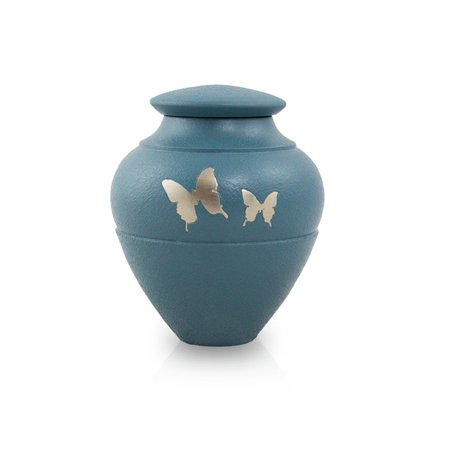 Sharing Urn - Bronze Memorial Keepsake For Sharing - Extra Small 5 Pounds -  Blue Butterfly - Engraving Sold Separately