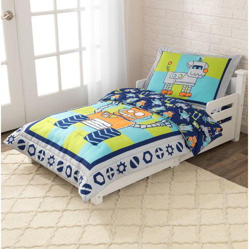 Kid Kraft Robot 4-piece Toddler Bedding Set (Blue) (Polyester, Robots)