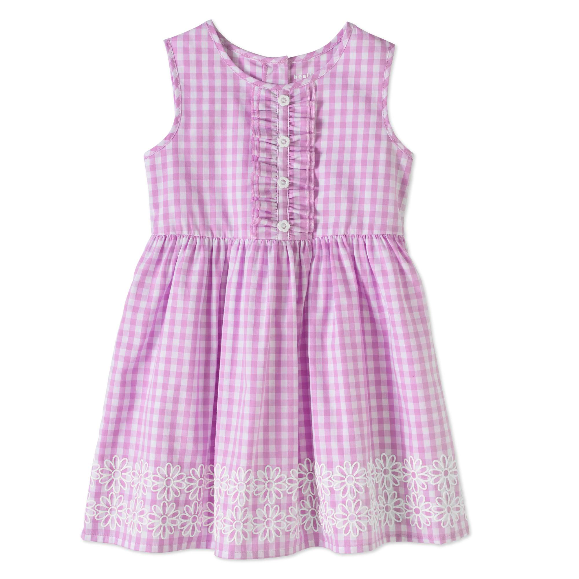 Healthtex Toddler Girls' Ruffle Front Sleeveless Floral Border Dress