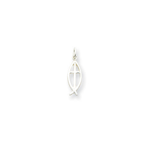 Jewelryweb Sterling Silver chthus Fish with Cross Charm