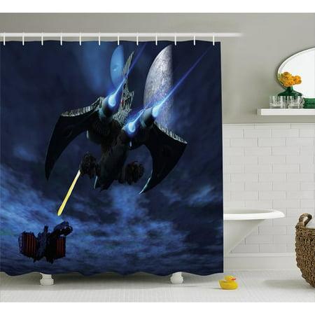 Zoomie Kids Eve a Lighter and Spaceship Blasts a Laser Beam An Enemy Battleship Galaxy Wars Pattern Shower Curtain