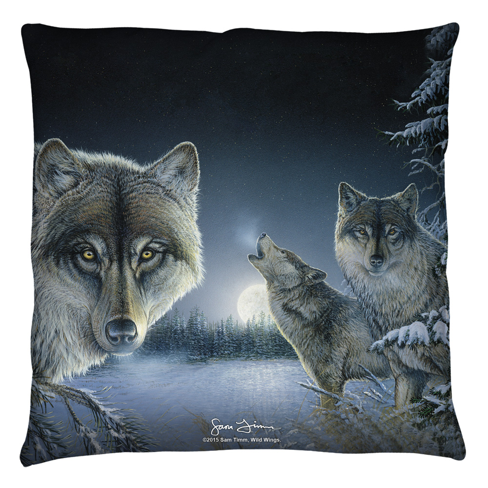 Wild Wings Midnight Wolves 2 Throw Pillow White 26X26