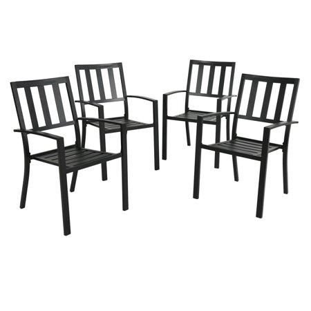 Outdoor Patio Dining Arm Chairs Steel Slat Seat Stacking Garden Chair Set of 4 for Porch, Backyard Steel Outdoor Stacking