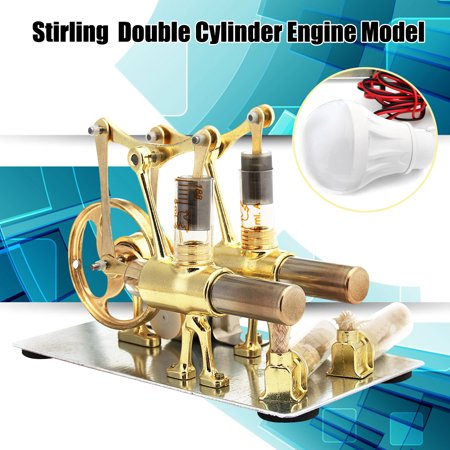 Mini Double Cylinder Hot Air Stirling Engine Model Motor Power Toy With LED Light