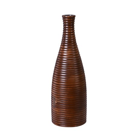 "Villacera Handmade 18"" Tall Bottle Mango Wood Brown Round Ripple Vase 