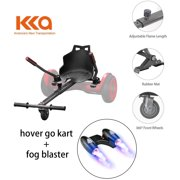 """Black Hoverboard Seat Attachment With Fog Blaster and LED Lights, Go Kart, Hoverboard Go Cart Accessories, Heavy Duty Frame, Fun for Kids Fits 6.5""""/8""""/10"""", Go Kart Conversion Kit for Hoverboard"""