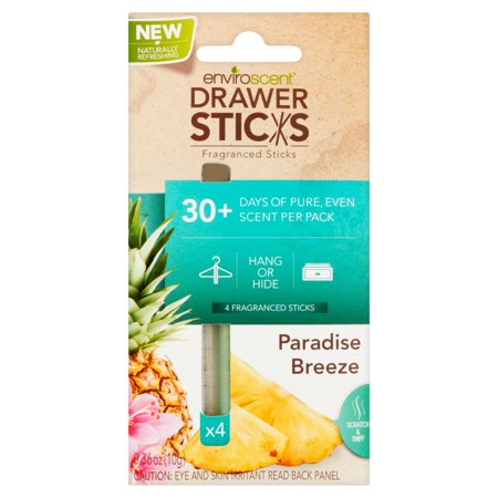 Enviroscent Drawer Sticks Paradise Breeze Fragranced Sticks, 0.36 oz, 4 count