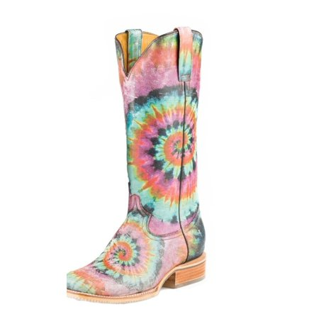 Tin Haul Western Boots Womens Tie Dye Pink 14-021-0007-1275 - Photo Booth Dyi