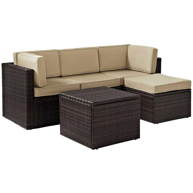 Palm Harbor 5-Piece Outdoor Wicker Sectional Seating Set with Sand Cushions - Brown