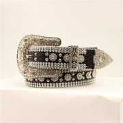 Angel Ranch DA1070-M 1.50 in. Gator Flower Concho Belt Crystals Silver Studs, Black - Medium