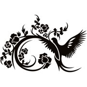 Design on Style  Left facing Floral Bird Flowers' Vinyl Lettering