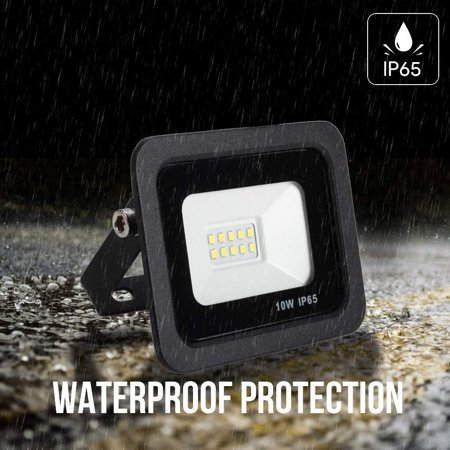 AC 180-265V 10W 10LEDs Flood Light Thin Spot Lamp Landscape Floodlight IP65 Water Resistant Bright Outdoor Secure Lights for Garage Yard Parking Lawn 6000k White - image 1 of 7