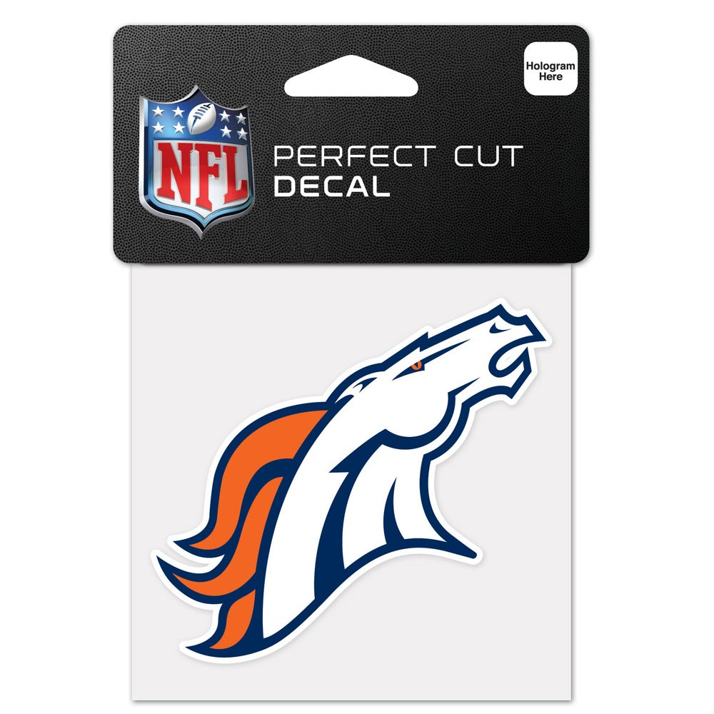 Denver Broncos Official NFL 4 inch x 4 inch  Die Cut Car Decal by Wincraft