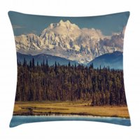 Alaska Throw Pillow Cushion Cover, Colorful Summer Season in Northwest America Snow White Mountains River Fresh Forest, Decorative Square Accent Pillow Case, 16 X 16 Inches, Multicolor, by Ambesonne